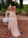 A-line V-neck Tulle Sweep Train Appliques Lace Bridesmaid Dresses #DOB010020105330