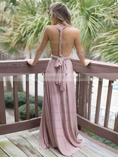 A-line V-neck Satin Chiffon Sweep Train Sashes / Ribbons Bridesmaid Dresses #DOB010020105349