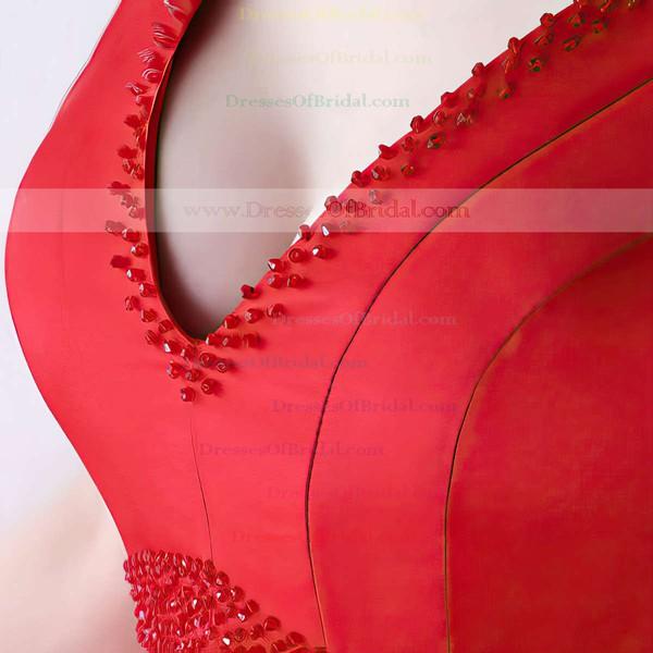 A-line V-neck Satin Asymmetrical Beading Bridesmaid Dresses #DOB010020105372