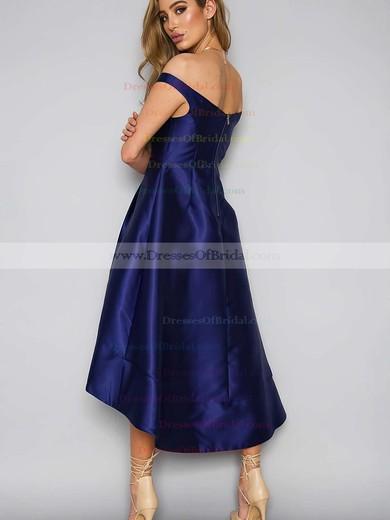 A-line Off-the-shoulder Satin Asymmetrical Pockets Bridesmaid Dresses #DOB010020105378