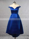 A-line Off-the-shoulder Satin Asymmetrical Pockets Bridesmaid Dresses #DOB010020105378