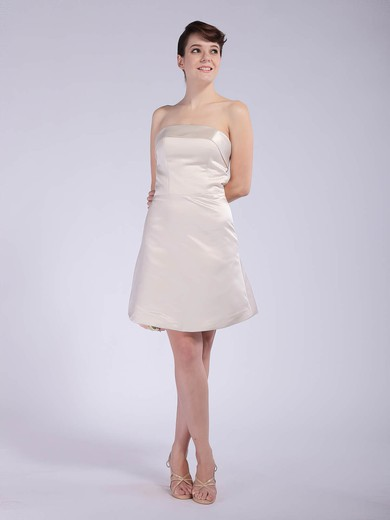 Strapless A-line Short/Mini Satin Draped Bridesmaid Dresses #DOB01012042