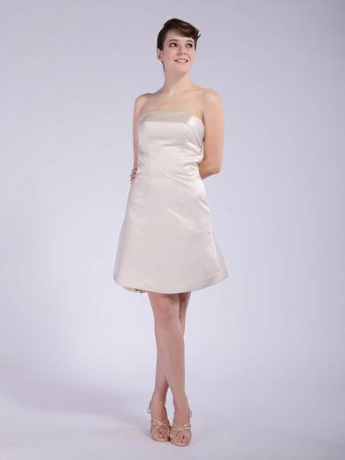 Strapless A-line Short/Mini Satin Draped Bridesmaid Dresses #DOB01012042