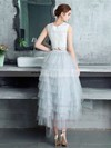 A-line Scoop Neck Lace Tulle Asymmetrical Tiered Bridesmaid Dresses #DOB010020105394