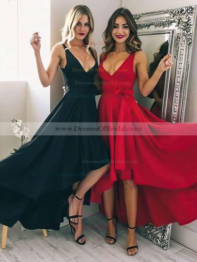 A-line V-neck Silk-like Satin Asymmetrical Sashes / Ribbons Bridesmaid Dresses #DOB010020105405