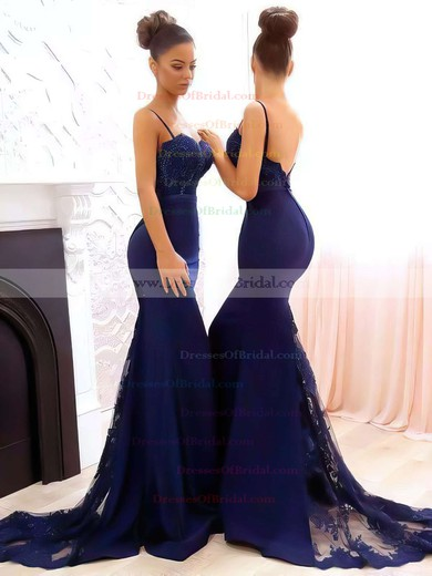 Trumpet/Mermaid Sweetheart Tulle Silk-like Satin Sweep Train Appliques Lace Bridesmaid Dresses #DOB010020105493