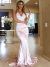 Trumpet/Mermaid V-neck Silk-like Satin Sweep Train Appliques Lace Bridesmaid Dresses #DOB010020105512