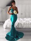 Trumpet/Mermaid V-neck Silk-like Satin Sweep Train Bridesmaid Dresses #DOB010020105513