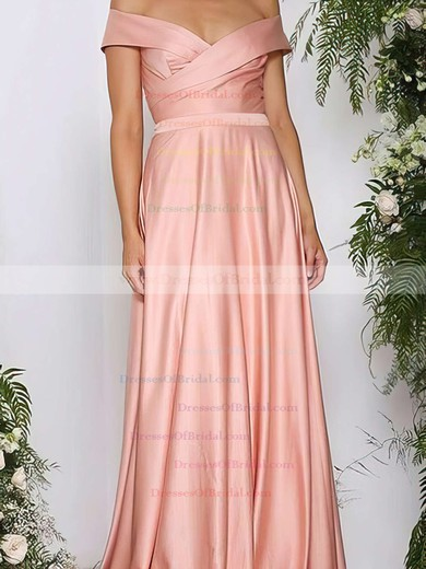 A-line Off-the-shoulder Silk-like Satin Sweep Train Ruffles Bridesmaid Dresses #DOB010020105737
