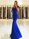 Trumpet/Mermaid One Shoulder Satin Floor-length Draped Bridesmaid Dresses #DOB010020105742
