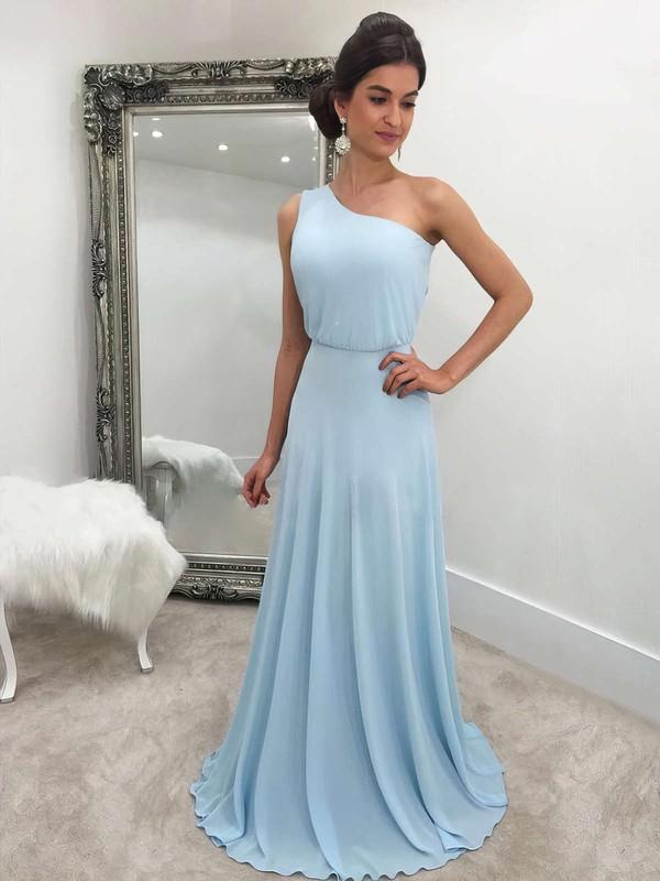A-line One Shoulder Chiffon Sweep Train Bridesmaid Dresses #DOB010020105744