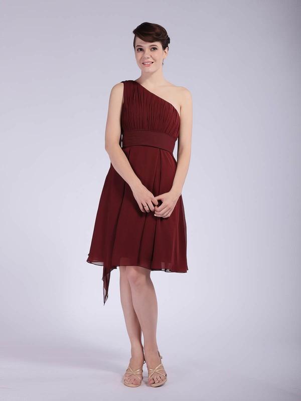 One Shoulder A-line Knee-length Chiffon Pleats Bridesmaid Dresses #DOB01012043