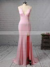 Trumpet/Mermaid V-neck Jersey Sweep Train Split Front Bridesmaid Dresses #DOB010020105765