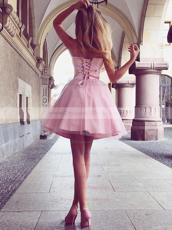A-line Sweetheart Satin Short/Mini Ruffles Bridesmaid Dresses #DOB010020105931