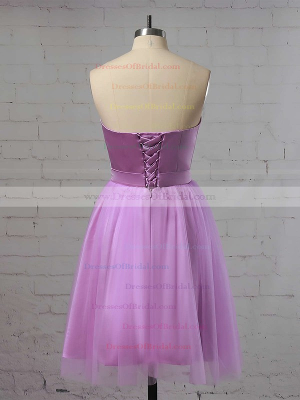 A-line Sweetheart Satin Short/Mini Ruffles Bridesmaid Dresses #DOB010020105931