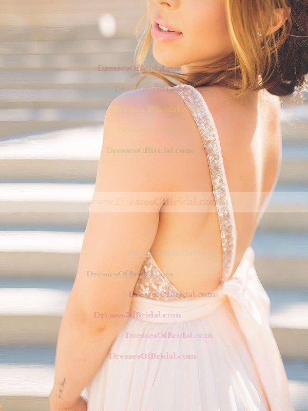 Ball Gown V-neck Tulle Sequined Sweep Train Sashes / Ribbons Bridesmaid Dresses #DOB010020106039