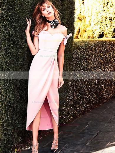 Sheath/Column Off-the-shoulder Silk-like Satin Tea-length Bow Bridesmaid Dresses #DOB010020106087