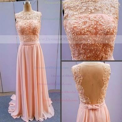 A-line Bateau Chiffon Floor-length Lace Bridesmaid Dresses #DOB01002014904