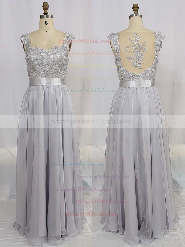 A-line Straps Chiffon Floor-length Appliques Bridesmaid Dresses #DOB01002015284