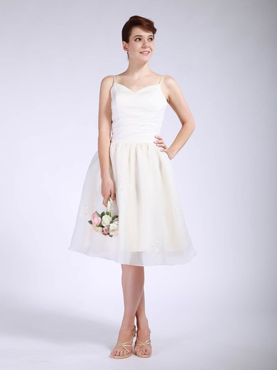 Sweetheart Ball Gown Knee-length Organza Pleats Bridesmaid Dresses #DOB01012047
