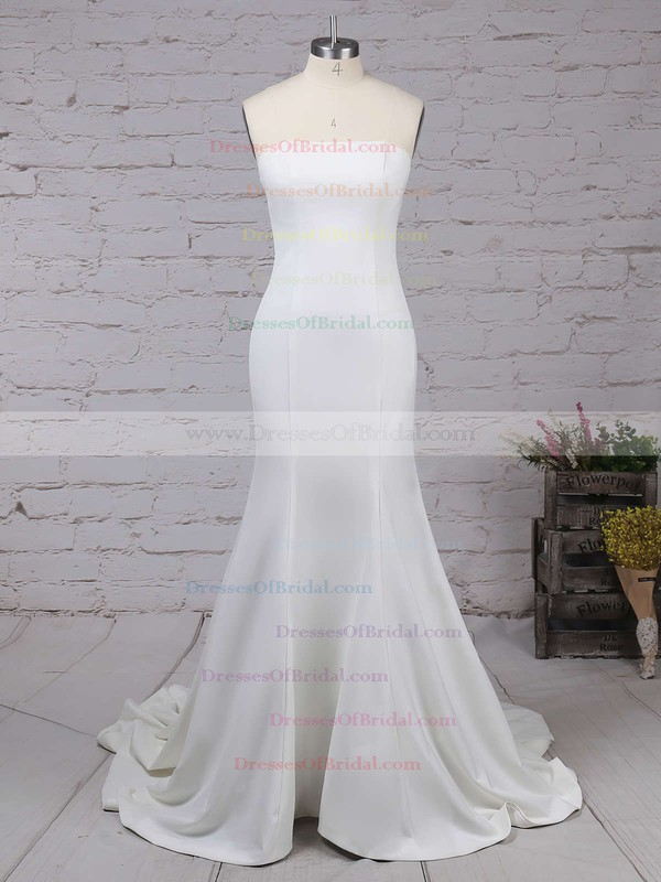 Trumpet/Mermaid Strapless Silk-like Satin Sweep Train Ruffles Bridesmaid Dresses #DOB01002016264