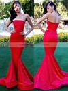 Trumpet/Mermaid Strapless Silk-like Satin Sweep Train Ruffles Bridesmaid Dresses #DOB01002016264