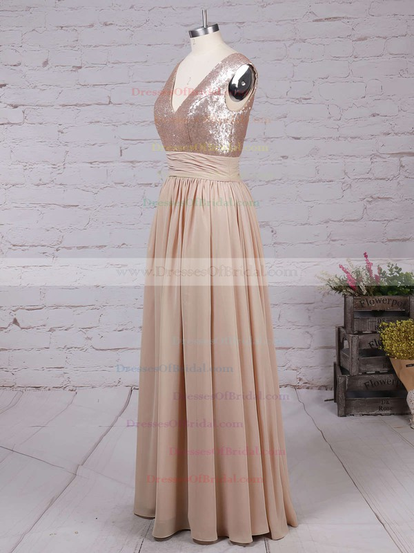 Champagne V-neck Sequined and Chiffon Pleats Inexpensive Bridesmaid Dresses #DOB01002016329