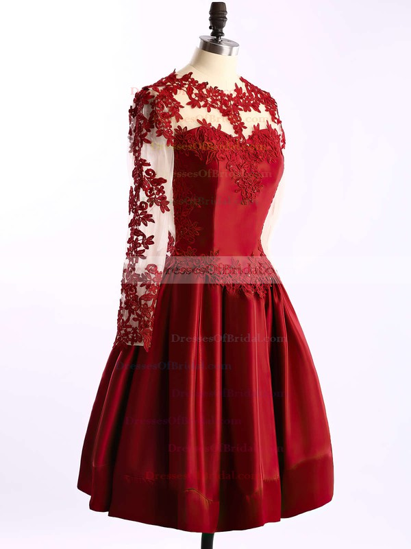 Gorgeous Elastic Woven Satin Tulle Appliques Lace Burgundy Short/Mini Long Sleeve Bridesmaid Dresses #DOB01002016430