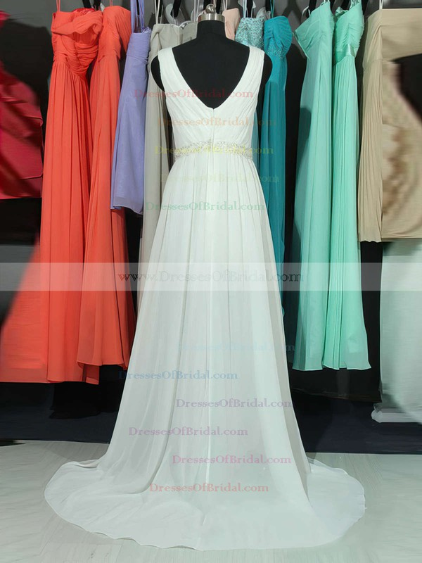 A-line V-neck Chiffon Sweep Train Lace Bridesmaid Dresses #DOB01002018761
