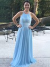 Chiffon A-line Halter Sweep Train Lace Bridesmaid Dresses #DOB01013730