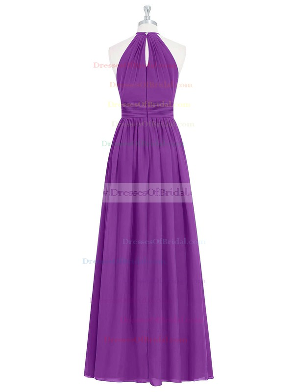 Chiffon A-line Halter Floor-length Ruffles Bridesmaid Dresses #DOB01013731