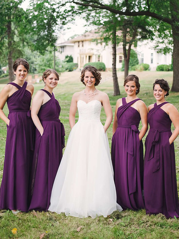 Chiffon A-line V-neck Floor-length Sashes / Ribbons Bridesmaid Dresses #DOB01013747