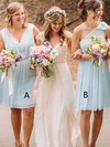 Chiffon A-line V-neck Knee-length Lace Bridesmaid Dresses #DOB01013748