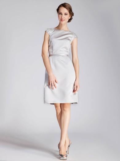 Bateau A-line Knee-length Satin Beading Bridesmaid Dresses #DOB02013672