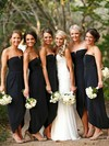 Chiffon A-line Strapless Asymmetrical Split Front Bridesmaid Dresses #DOB01013752