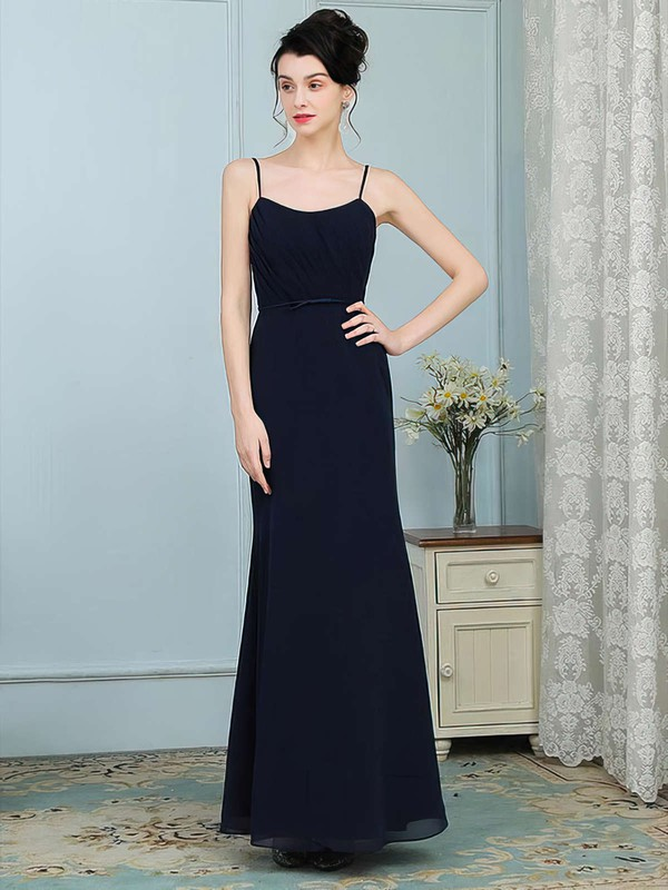 Chiffon Trumpet/Mermaid Scoop Neck Floor-length Sashes / Ribbons Bridesmaid Dresses #DOB01013756