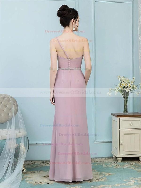 Chiffon Sheath/Column One Shoulder Floor-length Sashes / Ribbons Bridesmaid Dresses #DOB01013757