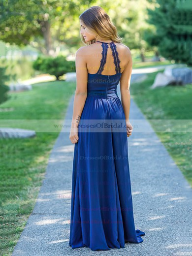 Chiffon A-line Halter Floor-length Lace Bridesmaid Dresses #DOB01013758