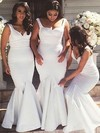 Silk-like Satin Trumpet/Mermaid V-neck Floor-length Bridesmaid Dresses #DOB01013738