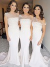 Jersey Trumpet/Mermaid One Shoulder Sweep Train Flower(s) Bridesmaid Dresses #DOB01013733