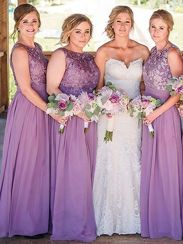 Lace Chiffon A-line Scoop Neck Floor-length Bridesmaid Dresses #DOB01013734