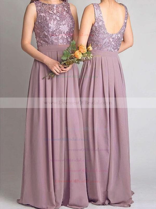 Lace Chiffon A-line Scoop Neck Floor-length Bridesmaid Dresses #DOB01013734