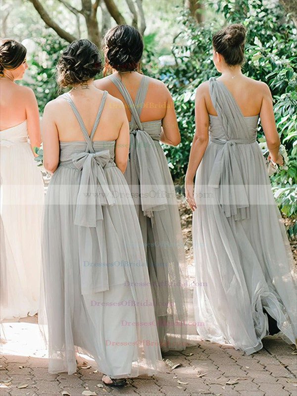 Tulle A-line One Shoulder Floor-length Ruffles Bridesmaid Dresses #DOB01013735