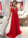 Lace Chiffon A-line V-neck Sweep Train Bridesmaid Dresses #DOB01013736