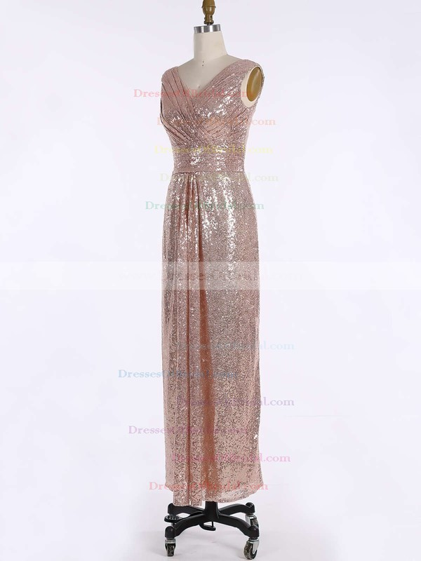Sequined Sheath/Column V-neck Floor-length Ruffles Bridesmaid Dresses #DOB01013739