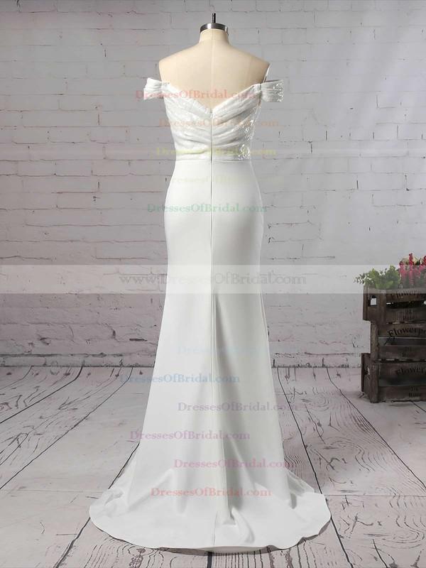 Sequined Silk-like Satin Trumpet/Mermaid Off-the-shoulder Sweep Train Ruffles Bridesmaid Dresses #DOB01013743