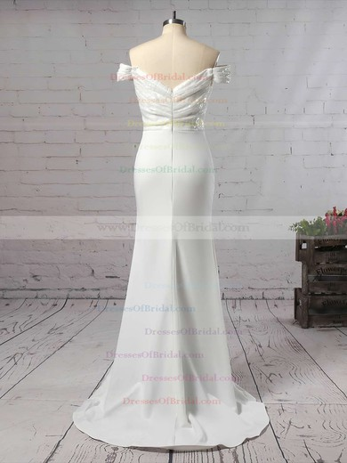 Sequined Silk-like Satin Trumpet/Mermaid Off-the-shoulder Sweep Train Ruffles Bridesmaid Dresses #DOB01013743