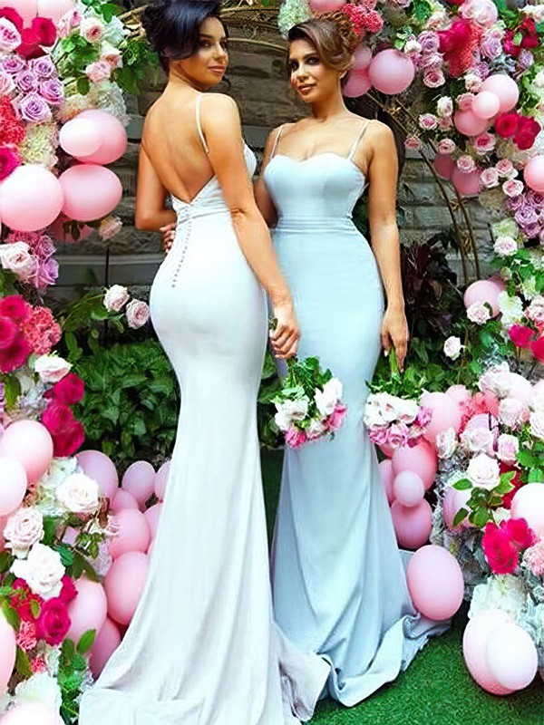 Silk-like Satin Trumpet/Mermaid Sweetheart Sweep Train Bridesmaid Dresses #DOB01013745