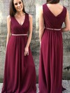 Chiffon A-line V-neck Floor-length Beading Bridesmaid Dresses #DOB01013749