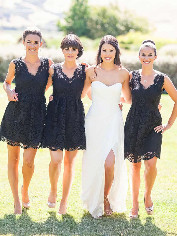 Lace A-line V-neck Short/Mini Bridesmaid Dresses #DOB01013755